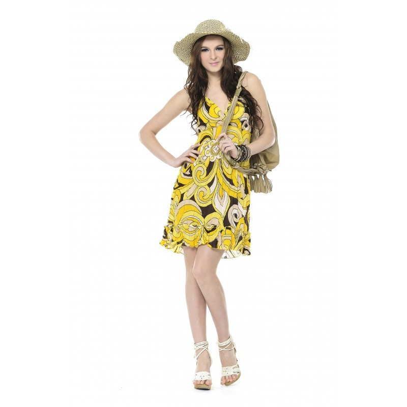 Image of Printed Chiffon Dress